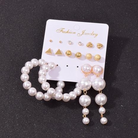 Nihaojewelry jewelry wholesale geometric pearl circle tassel earrings set  NHSD379953's discount tags