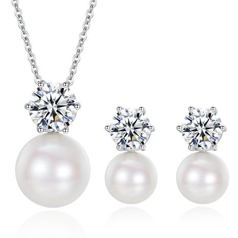 Nihaojewelry Pendientes de collar de perlas de colores simples y circonitas, conjunto de joyas al por mayor NHKN379962's discount tags