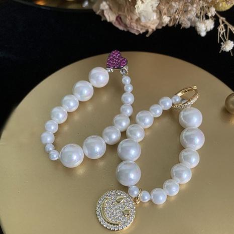 nihaojewelry fashion gradient pearl heart smiley earrings wholesale jewelry NHWK379971's discount tags