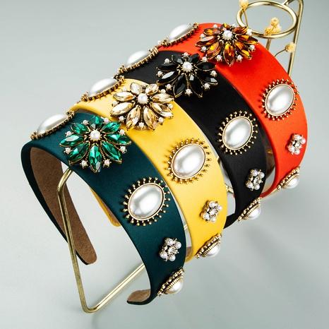 wholesale jewelry baroque rhinestone flower pearl headband Nihaojewelry NHLN379993's discount tags