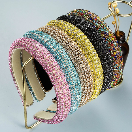 wholesale jewelry baroque full diamond fabric headband Nihaojewelry NHLN380001's discount tags