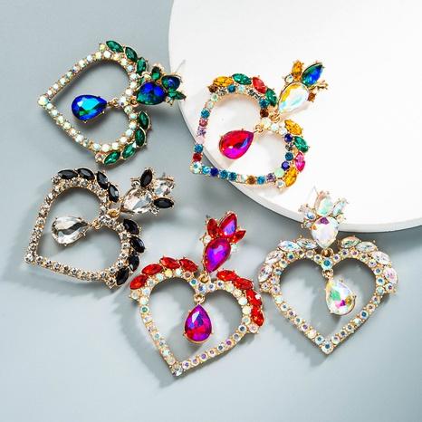 nihaojewelry moda flor pendientes de diamantes de imitación en forma de corazón joyería al por mayor NHLN380009's discount tags