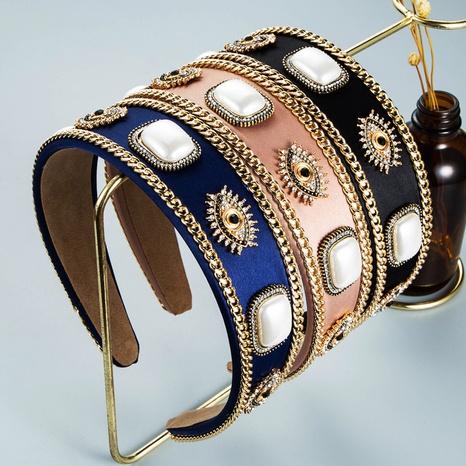 wholesale jewelry devil's eyes rhinestone pearl headband Nihaojewelry NHLN380016's discount tags
