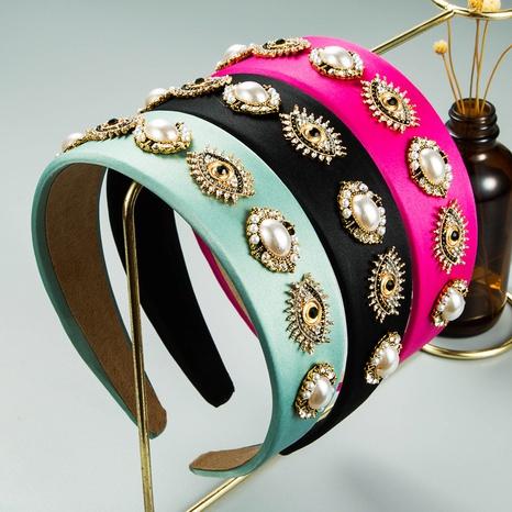 wholesale jewelry baroque rhinestone broad-brim fabric pearl headband Nihaojewelry NHLN380020's discount tags