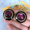 NHOM1754408-Deep-Purple-Glass-Silver-Needle-Stud-Earrings-3C