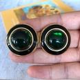 NHOM1754412-Green-Glass-Silver-Needle-Stud-Earrings-3CM