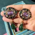 NHOM1754416-Oval-glass-drop-drop-silver-pin-earrings-63.5CM
