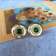 NHOM1754425-Green-Glass-Silver-Needle-Stud-Earrings-2CM