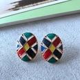 NHOM1754360-Oval-lattice-drip-glaze-silver-pin-earrings-2.52