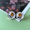 NHOM1754330-Round-rose-drip-glaze-earrings-1.8CM