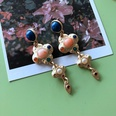 NHOM1754333-Dumb-gold-and-silver-needle-stone-earrings-72.2C