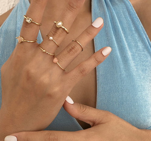 wholesale jewelry simple alloy imitation pearl ring set Nihaojewelry NHMD379128's discount tags