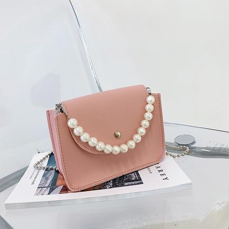 Nihaojewelry gros sac de messager de chaîne de poignée de perle de couleur unie petit sac NHXC380339's discount tags