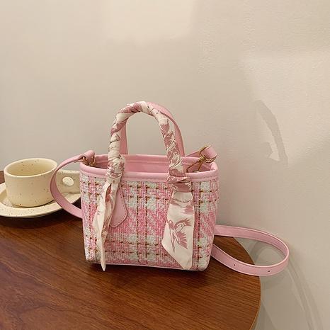 Nihaojewelry wholesale Korean contrasting color plaid silk scarf woolen cloth bucket bag  NHZW380448's discount tags