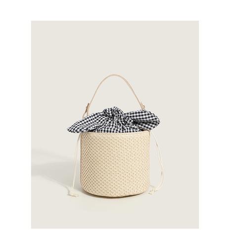 wholesale bowknot lattice bucket straw woven bag Nihaojewelry NHASB380516's discount tags