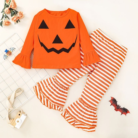 Nihaojewelry style pumpkin ghost head blouse striped bell bottom trousers set Wholesale Jewelry NHLF380551's discount tags