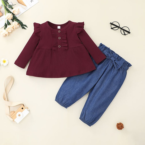 Nihaojewelry baby round neck T-shirt bow pants two-piece set Wholesale NHLF380553's discount tags