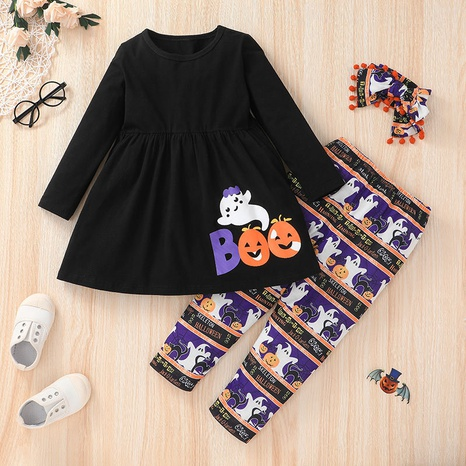 Nihaojewelry fashion printed T-shirt trousers Halloween children's set Wholesale NHLF380555's discount tags