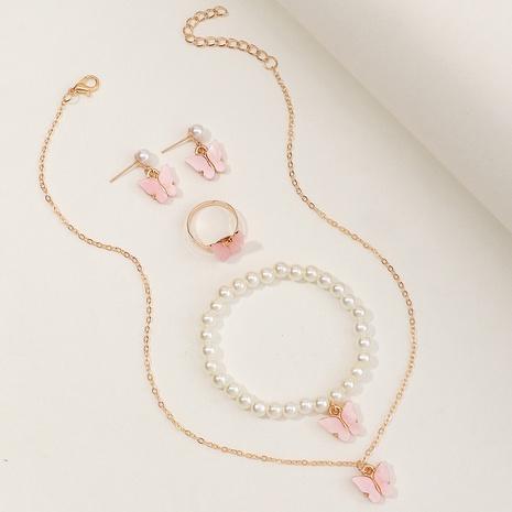 Wholesale Jewelry Butterfly Pearl Children's Necklaces Bracelets Ring Earrings Set Nihaojewelry NHNU380649's discount tags