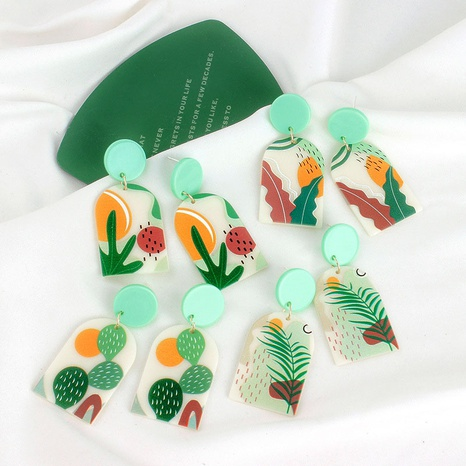 wholesale jewelry mint green acrylic earrings Nihaojewelry NHBQ380683's discount tags