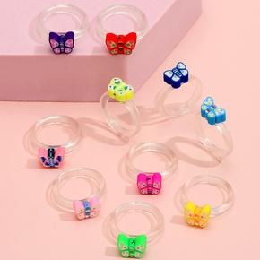 wholesale jewelry geometric butterfly color resin ring ten-piece set Nihaojewelry NHLL380690