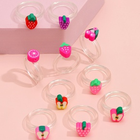 wholesale jewelry cute candy color resin fruit ring ten-piece set Nihaojewelry NHLL380692