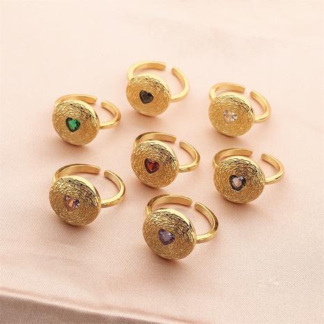 vente en gros bijoux rétro bague en cuivre coeur zircon micro-incrusté Nihaojewelry NHPY380711's discount tags