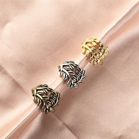 vente en gros bijoux rétro bague en cuivre feuille d'olivier creuse Nihaojewelry NHPY380713's discount tags