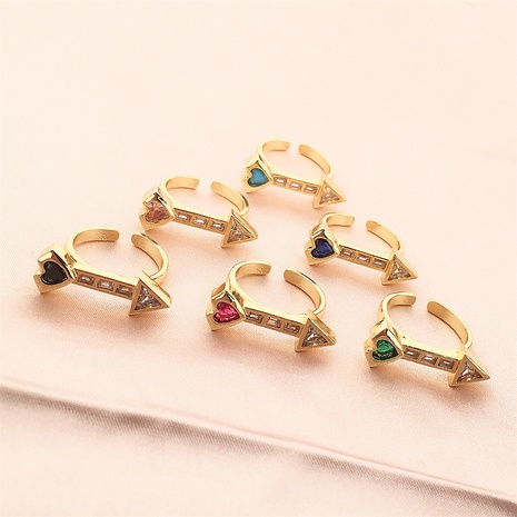 Vente en gros bijoux zircon coeur bague en cuivre Nihaojewelry NHPY380716's discount tags