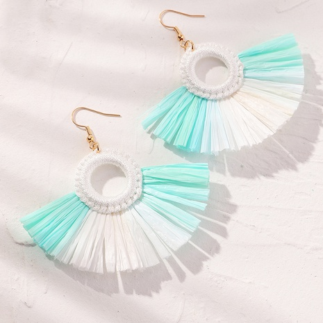 Großhandel Schmuck Böhmische farbige Bast fächerförmige Ohrringe Nihaojewelry NHNZ380738's discount tags