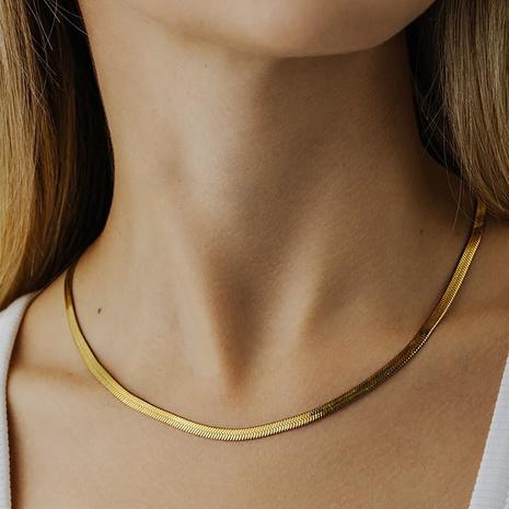 Großhandel einfache Schlangenknochenkette Edelstahlhalskette nihaojewelry NHJIE380759's discount tags