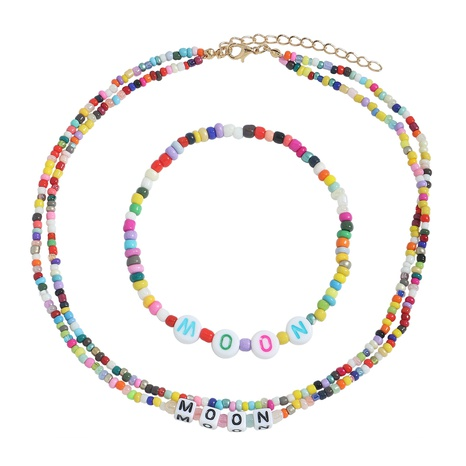 wholesale jewelry letters colorful bead necklace bracelet set Nihaojewelry NHJQ380814's discount tags