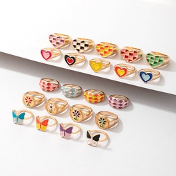 wholesale jewelry retro color heart multi-element ring Nihaojewelry NHGY380838
