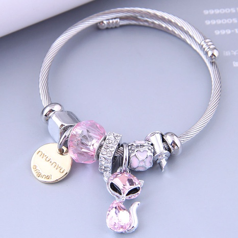 Nihaojewelry wholesale jewelry fashion metal lettering disc cat pendant bracelet NHSC383162's discount tags