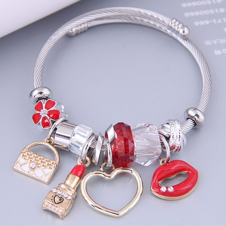 Nihaojewelry wholesale jewelry fashion metal bag lipstick heart lips multi-element pendant bracelet NHSC383198's discount tags