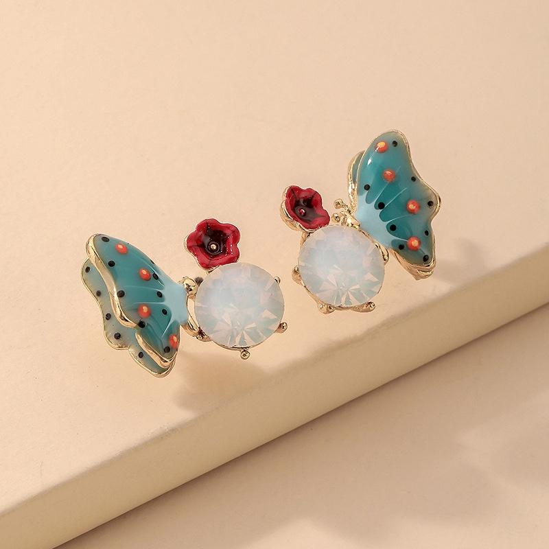 wholesale jewelry color inlaid rhinestone butterfly stud earrings Nihaojewelry  NHNJ380984