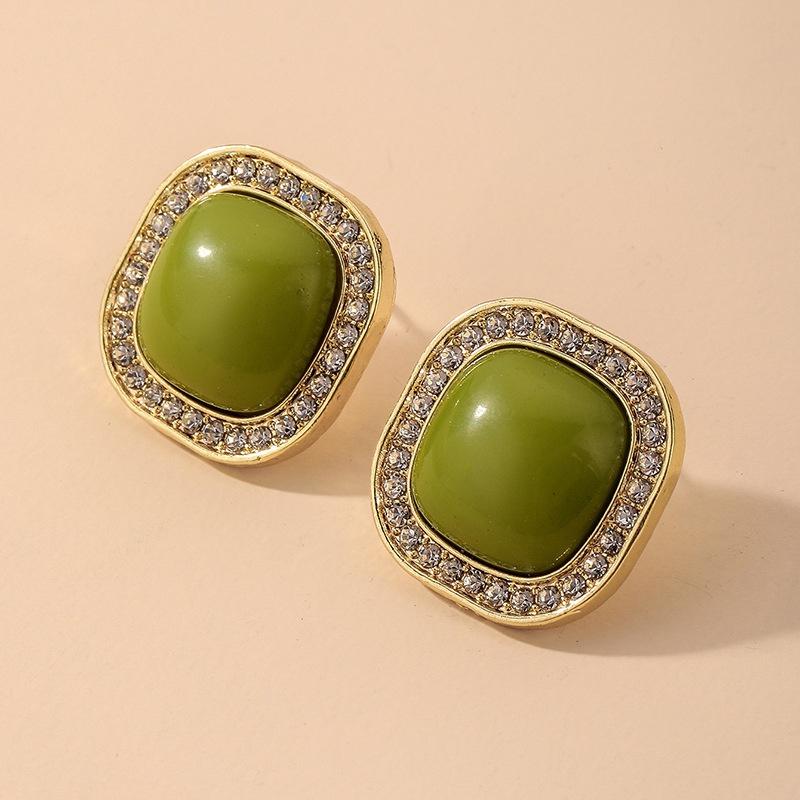 wholesale jewelry retro inlaid rhinestone geometric square stud earrings Nihaojewelry  NHNJ380985