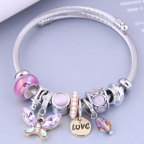 Nihaojewelry wholesale jewelry fashion metal butterfly LOVE water drop pendant bracelet NHSC383194's discount tags
