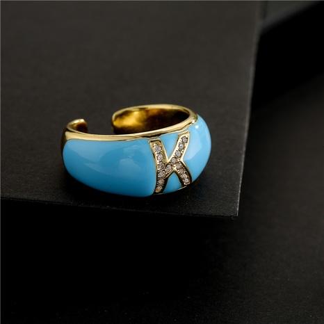 Nihaojewelry bijoux en gros bague ouverte avec lettre zircon incrustée en or plaqué cuivre NHFMO381000's discount tags