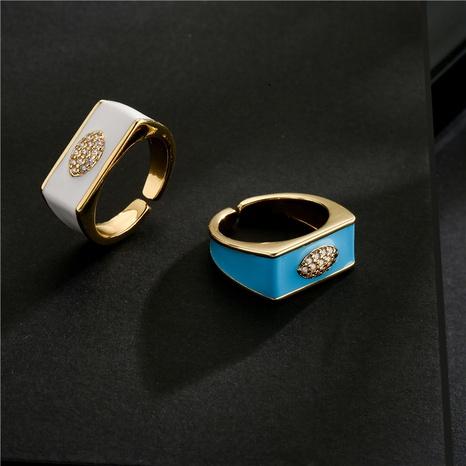 Nihaojewelry bijoux en gros goutte d'huile géométrique bague ouverte en zircon de cuivre électrolytique NHFMO381001's discount tags