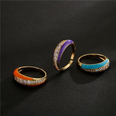Vente en gros bijoux goutte d'huile cuivre micro-incrusté zircon anneau ouvert géométrique Nihaojewelry NHFMO381002's discount tags