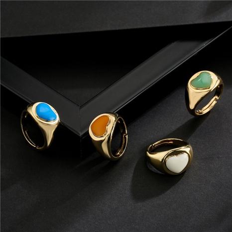 Nihaojewelry bijoux en gros plaqué cuivre or 18 carats anneau ouvert géométrique coeur dégoulinant NHFMO381003's discount tags