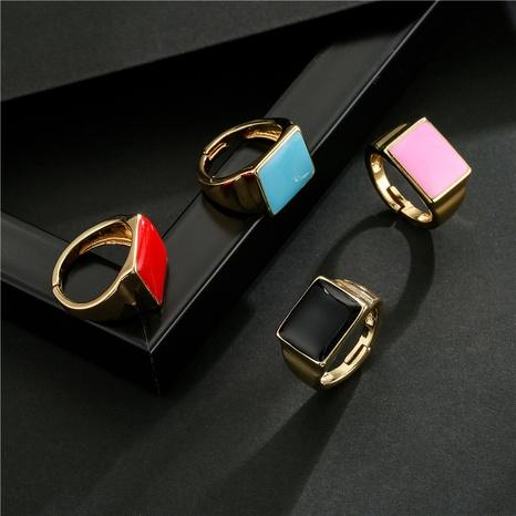 Nihaojewelry bijoux en gros mode 4 couleurs goutte d'huile carré géométrique anneau ouvert NHFMO381004's discount tags