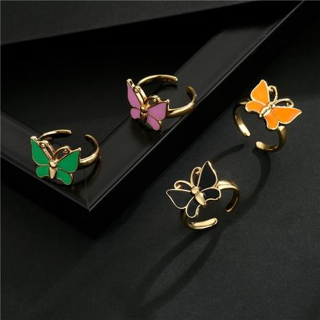 Vente en gros bijoux bague ouverte papillon dégoulinant de cuivre plaqué or Nihaojewelry NHFMO381005's discount tags
