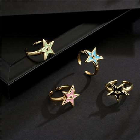 Nihaojewelry Bijoux en gros Devil's Eye Pentagram Bague ouverte en cuivre géométrique NHFMO381006's discount tags