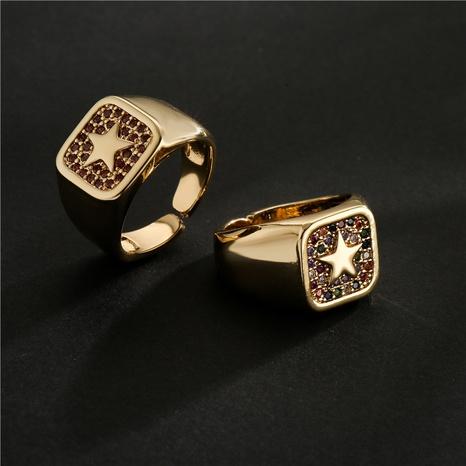 Nihaojewelry bijoux en gros bague géométrique en étoile à cinq branches en cuivre micro incrusté de zircon NHFMO381007's discount tags