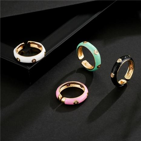 Nihaojewelry bijoux en gros mode goutte d'huile bague ouverte en or 18 carats plaqué cuivre NHFMO381008's discount tags