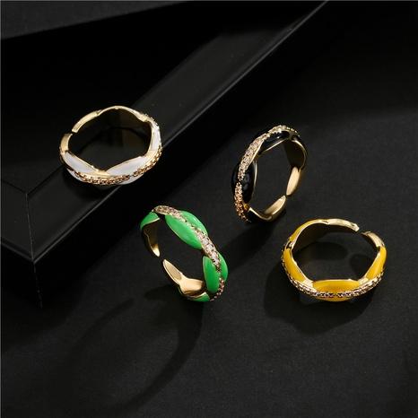 Nihaojewelry bijoux en gros nouvelle bague d'ouverture de galvanoplastie en zircon incrusté de cuivre NHFMO381009's discount tags