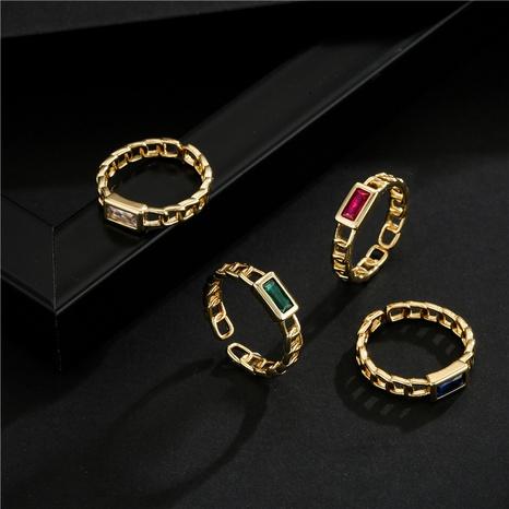 Nihaojewelry bijoux en gros mode simple chaîne cuivre zircon anneau ouvert NHFMO381010's discount tags