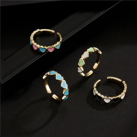 Nihaojewelry bijoux en gros plaqué cuivre or 18 carats anneau ouvert coeur dégoulinant NHFMO381011's discount tags